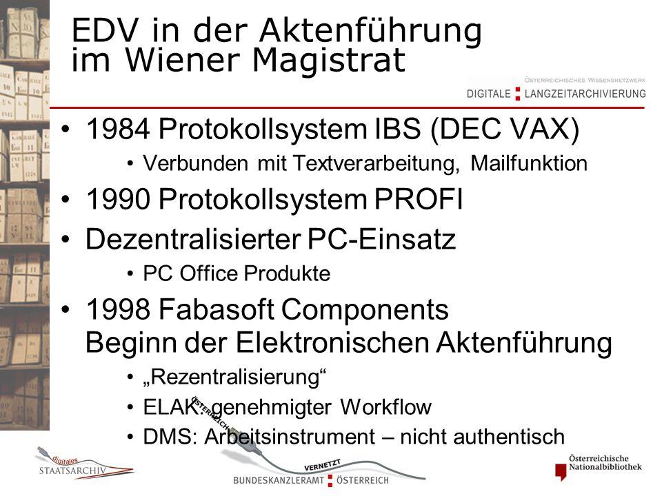 EDV in der Aktenführung im Wiener Magistrat 1984 Protokollsystem IBS (DEC VAX) Verbunden mit Textverarbeitung, Mailfunktion 1990 Protokollsystem PROFI