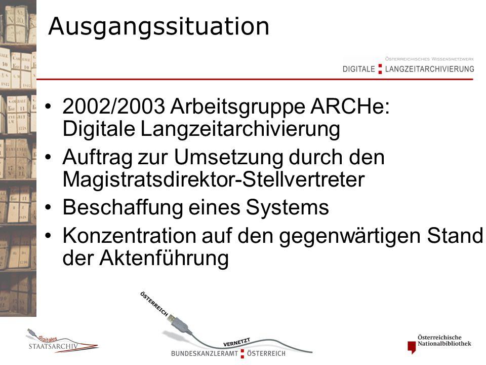 Ausgangssituation 2002/2003 Arbeitsgruppe ARCHe: Digitale Langzeitarchivierung Auftrag zur Umsetzung durch den Magistratsdirektor-Stellvertreter Beschaffung eines Systems Konzentration auf den gegenwärtigen Stand der Aktenführung