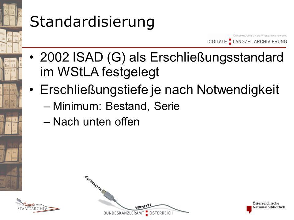2002 ISAD (G) als Erschließungsstandard im WStLA festgelegt Erschließungstiefe je nach Notwendigkeit –Minimum: Bestand, Serie –Nach unten offen Standardisierung