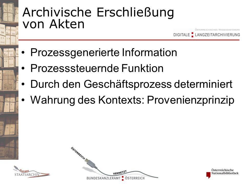 Archivische Erschließung von Akten Prozessgenerierte Information Prozesssteuernde Funktion Durch den Geschäftsprozess determiniert Wahrung des Kontexts: Provenienzprinzip