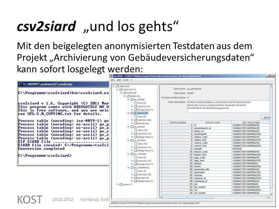 csv2siard die wichtigsten Features KOST 629.02.2012Workshop SIARD-ValC.