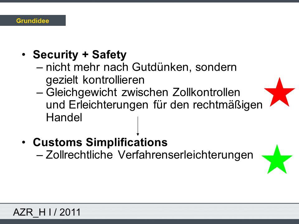 AZR_H I / 2011 Security + Safety –nicht mehr nach Gutdünken, sondern gezielt kontrollieren –Gleichgewicht zwischen Zollkontrollen und Erleichterungen