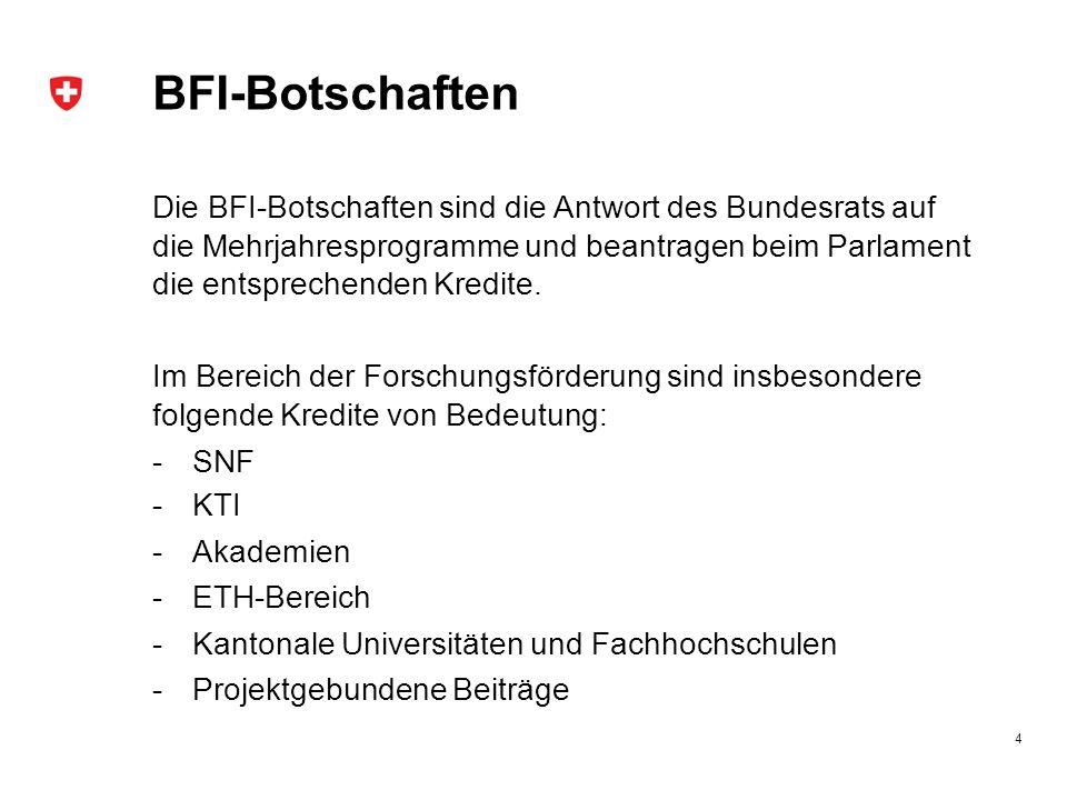 BFI-Botschaften Die BFI-Botschaften sind die Antwort des Bundesrats auf die Mehrjahresprogramme und beantragen beim Parlament die entsprechenden Kredite.