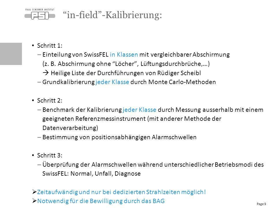 Schritt 1:  Einteilung von SwissFEL in Klassen mit vergleichbarer Abschirmung (z.