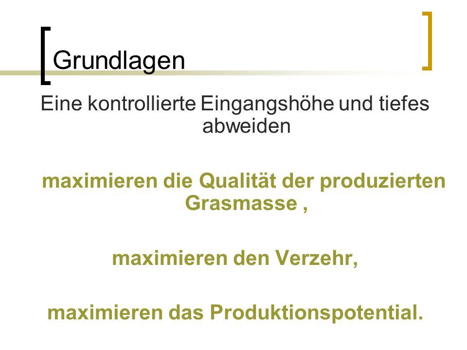 Grundlagen Eine kontrollierte Eingangshöhe und tiefes abweiden maximieren die Qualität der produzierten Grasmasse, maximieren den Verzehr, maximieren das Produktionspotential.