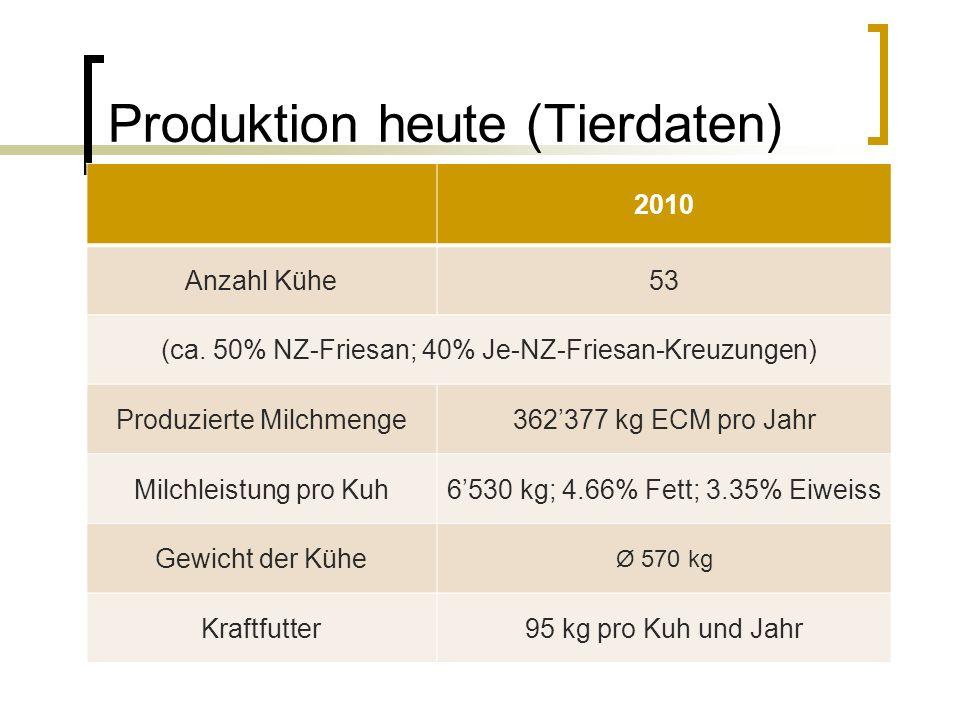 Produktion heute (Tierdaten) 2010 Anzahl Kühe53 (ca.
