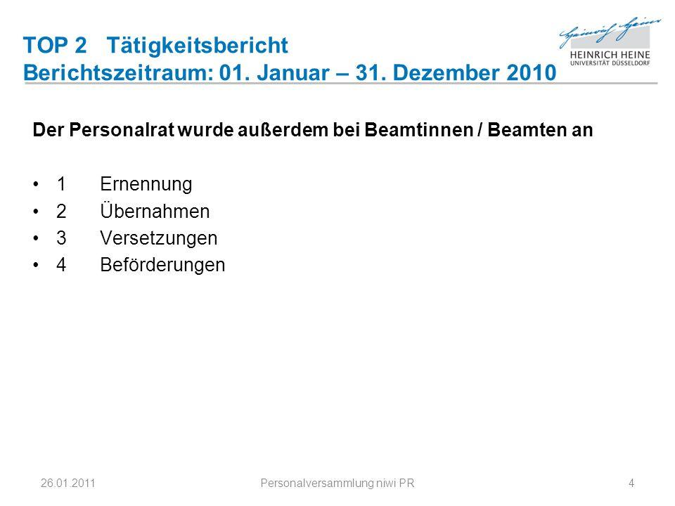 TOP 2 Tätigkeitsbericht Berichtszeitraum: 01. Januar – 31. Dezember 2010 Der Personalrat wurde außerdem bei Beamtinnen / Beamten an 1Ernennung 2 Übern