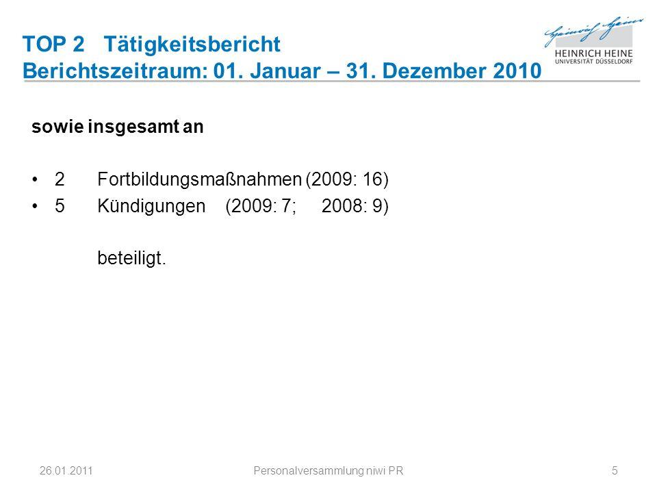 TOP 2 Tätigkeitsbericht Berichtszeitraum: 01. Januar – 31. Dezember 2010 sowie insgesamt an 2Fortbildungsmaßnahmen (2009: 16) 5Kündigungen (2009: 7; 2