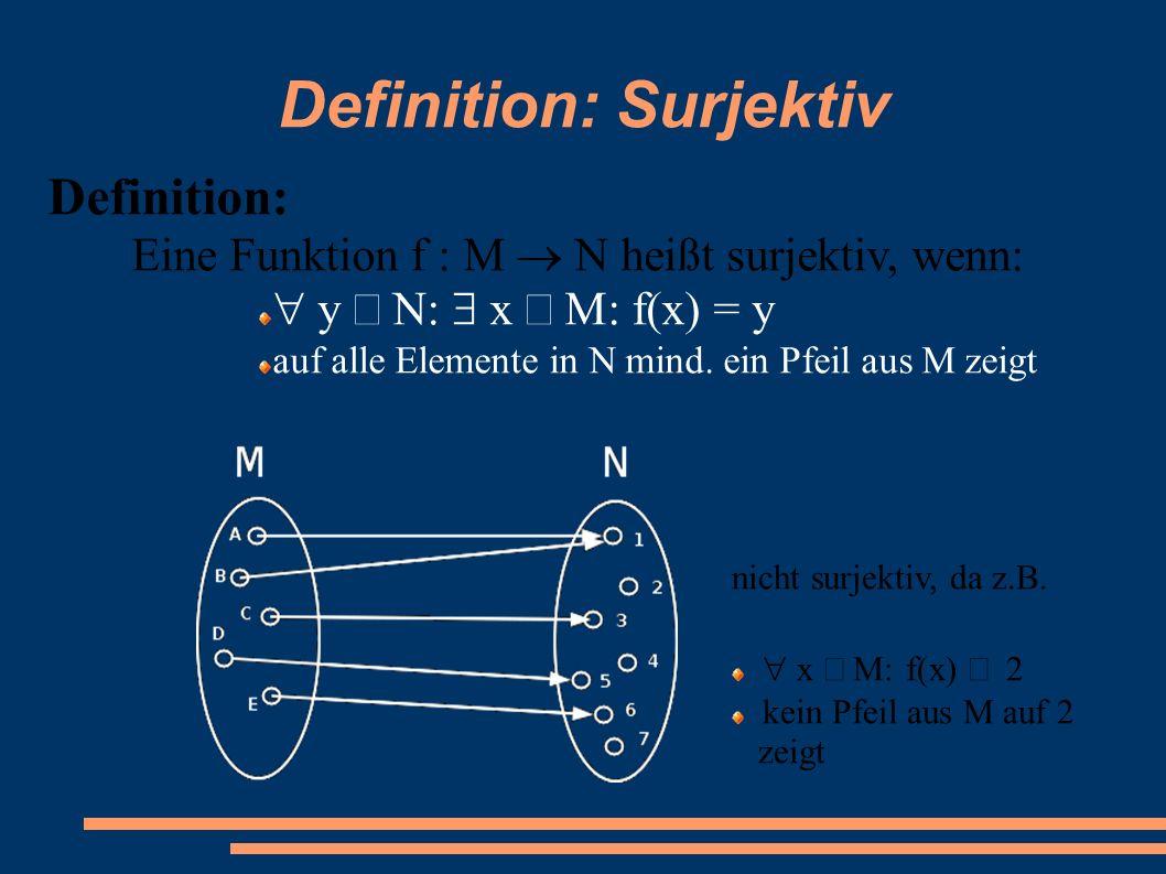Definition: Surjektiv Definition: Eine Funktion f : M  N heißt surjektiv, wenn:  y  N:  x  f(x)  = y auf alle Elemente in N mind. ein Pfeil a