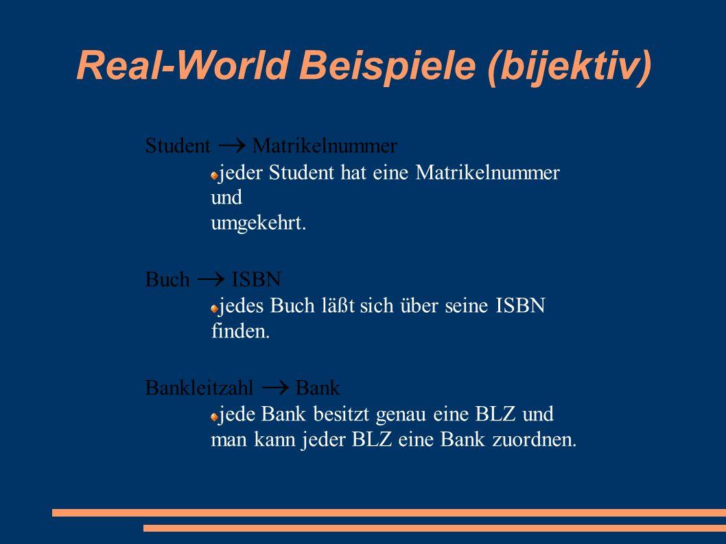 Real-World Beispiele (bijektiv) Student  Matrikelnummer jeder Student hat eine Matrikelnummer und umgekehrt. Buch  ISBN jedes Buch läßt sich über se