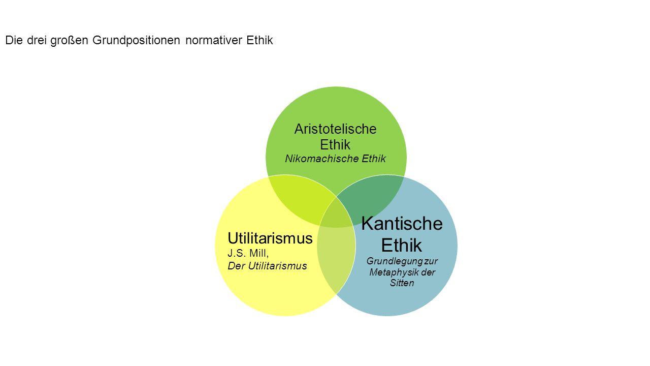 Aristotelische Ethik Nikomachische Ethik Kantische Ethik Grundlegung zur Metaphysik der Sitten Utilitarismus J.S.