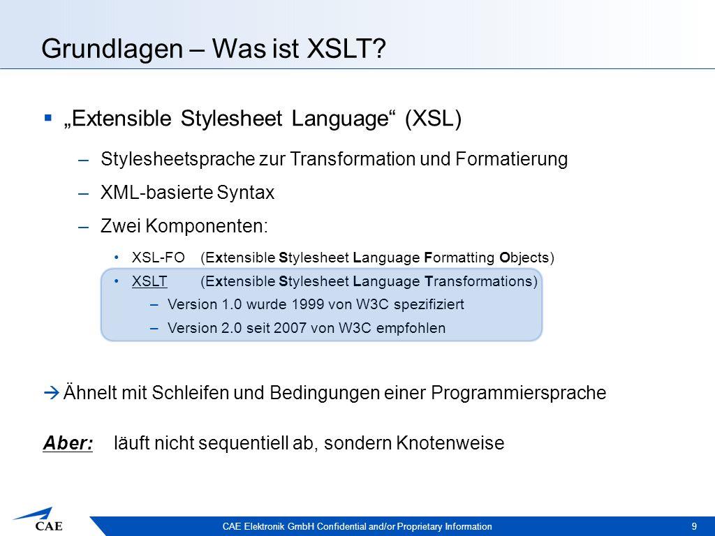 CAE Elektronik GmbH Confidential and/or Proprietary Information Anwendungsbereiche 20  POP (Presentation Oriented Publishing): Peter Mueller Mein erstes XML Buch Addison-Wesley … … XSLT-Stylesheet XML-Quelldokument XSLT- Prozessor Anzeige im Browser: