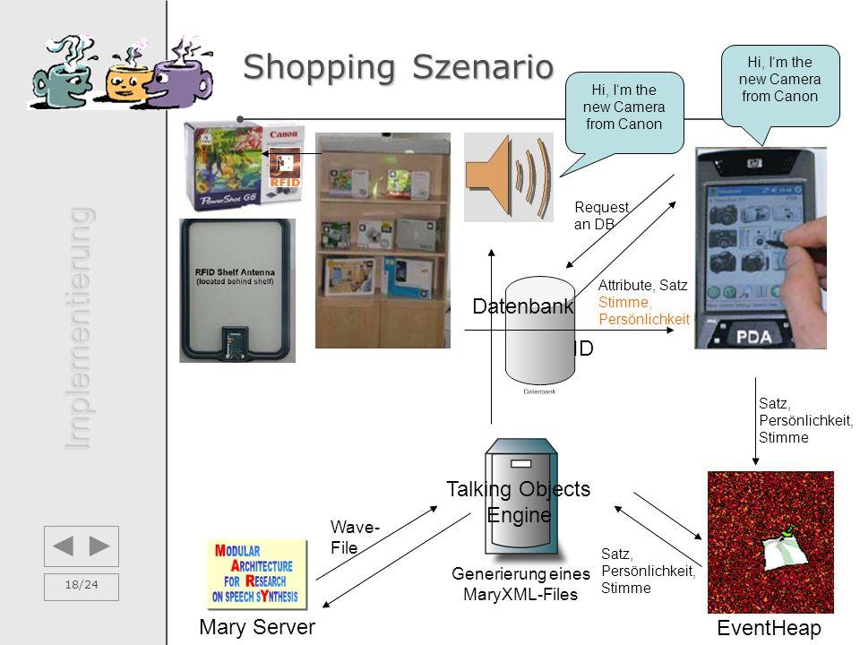 18/24 Shopping Szenario Implementierung Request an DB Attribute, Satz Satz, Persönlichkeit, Stimme EventHeap Mary Server Stimme, Persönlichkeit Hi, I'
