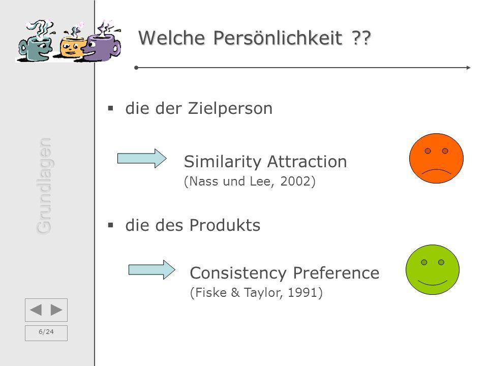 6/24 Welche Persönlichkeit ??  die der Zielperson  die des Produkts Consistency Preference (Fiske & Taylor, 1991) Similarity Attraction (Nass und Le