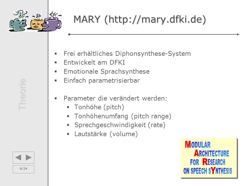 9/24 MARY (http://mary.dfki.de) MARY (http://mary.dfki.de)  Frei erhältliches Diphonsynthese-System  Entwickelt am DFKI  Emotionale Sprachsynthese  Einfach parametrisierbar  Parameter die verändert werden:  Tonhöhe (pitch)  Tonhöhenumfang (pitch range)  Sprechgeschwindigkeit (rate)  Lautstärke (volume) Theorie
