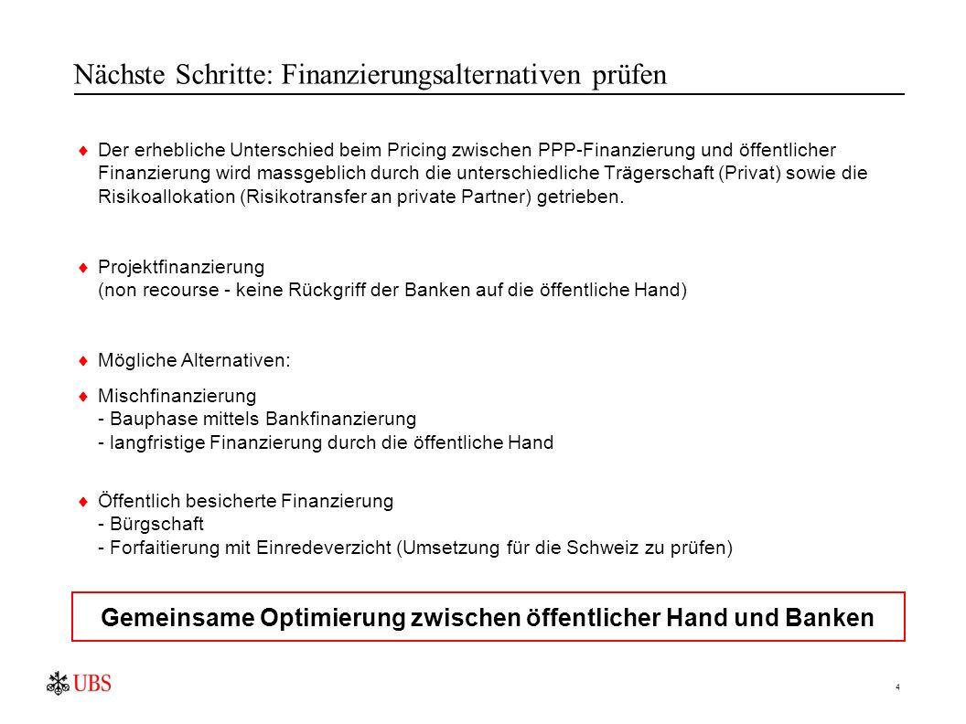 4 Nächste Schritte: Finanzierungsalternativen prüfen  Der erhebliche Unterschied beim Pricing zwischen PPP-Finanzierung und öffentlicher Finanzierung wird massgeblich durch die unterschiedliche Trägerschaft (Privat) sowie die Risikoallokation (Risikotransfer an private Partner) getrieben.