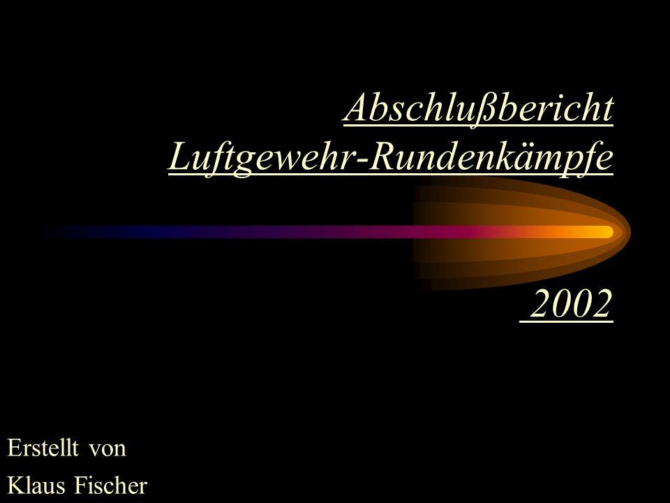 Die Durchschnittsergebnisse der Schützen von Eschbach 1 die erstmals in der Gauklasse antraten: Ralf Schoula385,49,86 Sebastian Kral376,69,42 Rüdiger Kral372,29,31 Lewalter, Jan370,79,27 Peter Fuhrmann363,09,08