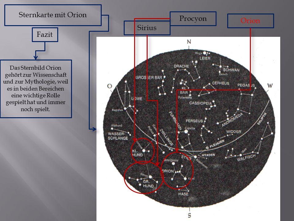 Sternkarte mit Orion Orion Procyon Sirius Fazit Das Sternbild Orion gehört zur Wissenschaft und zur Mythologie, weil es in beiden Bereichen eine wichtige Rolle gespielt hat und immer noch spielt.