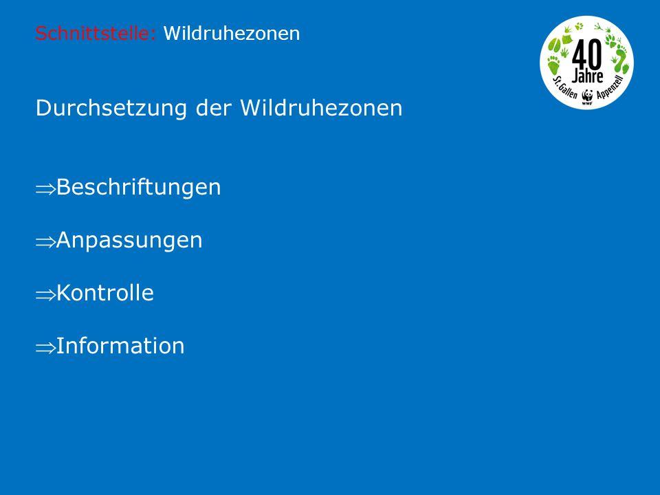 Durchsetzung der Wildruhezonen  Beschriftungen  Anpassungen  Kontrolle  Information Schnittstelle: Wildruhezonen