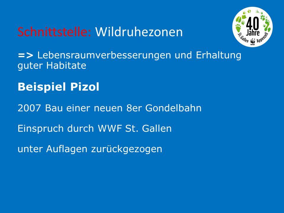 Schnittstelle: Wildruhezonen => Lebensraumverbesserungen und Erhaltung guter Habitate Beispiel Pizol 2007 Bau einer neuen 8er Gondelbahn Einspruch durch WWF St.