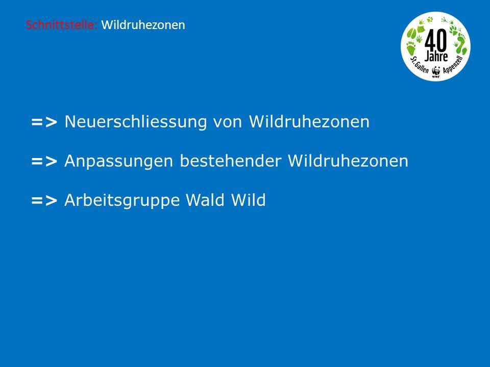 => Neuerschliessung von Wildruhezonen => Anpassungen bestehender Wildruhezonen => Arbeitsgruppe Wald Wild Schnittstelle: Wildruhezonen