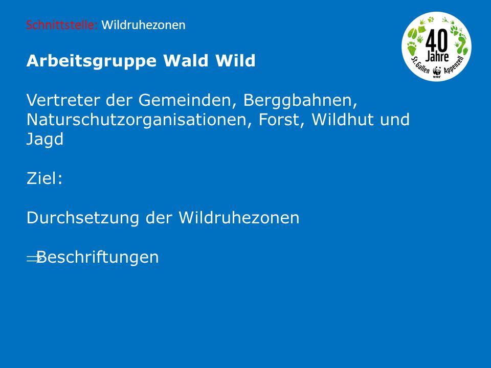 Arbeitsgruppe Wald Wild Vertreter der Gemeinden, Berggbahnen, Naturschutzorganisationen, Forst, Wildhut und Jagd Ziel: Durchsetzung der Wildruhezonen Beschriftungen Schnittstelle: Wildruhezonen