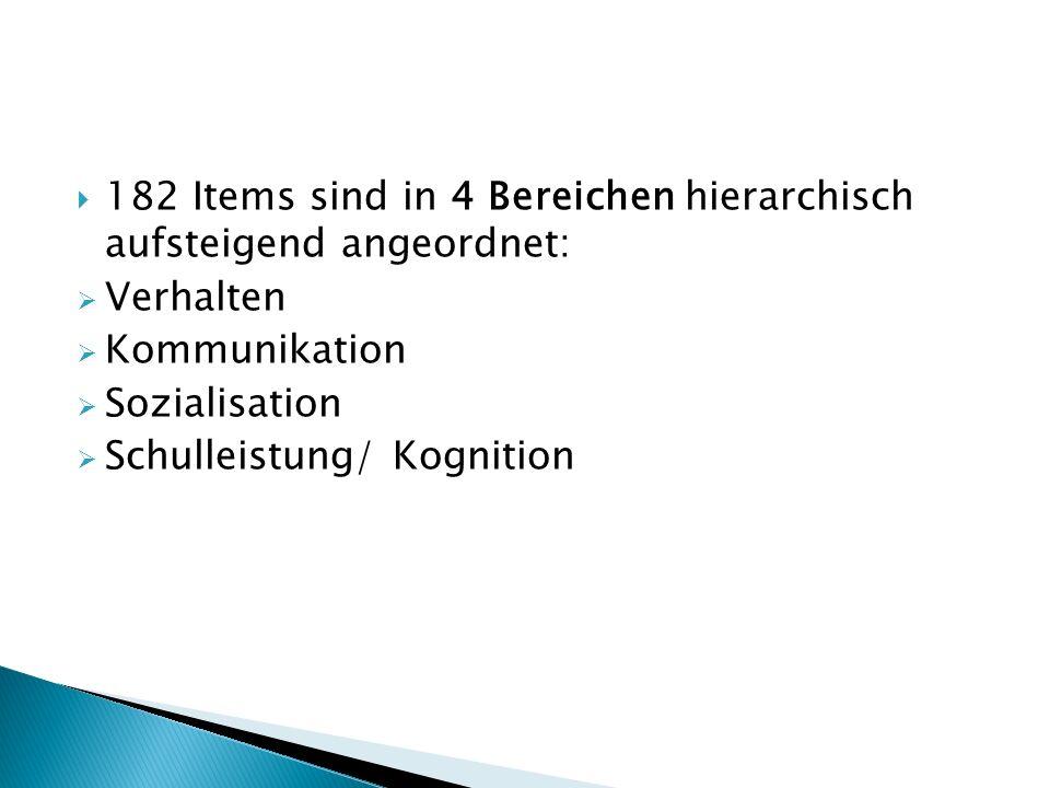  182 Items sind in 4 Bereichen hierarchisch aufsteigend angeordnet:  Verhalten  Kommunikation  Sozialisation  Schulleistung/ Kognition