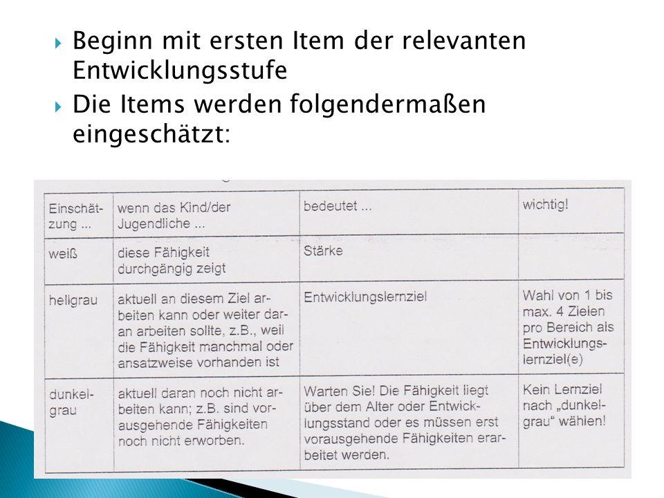  Beginn mit ersten Item der relevanten Entwicklungsstufe  Die Items werden folgendermaßen eingeschätzt: