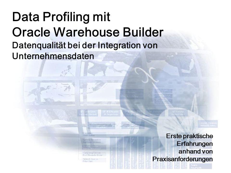 2 Data Profiling mit Oracle Warehouse Builder Datenqualität bei der Integration von Unternehmensdaten Erste praktische Erfahrungen anhand von Praxisanforderungen