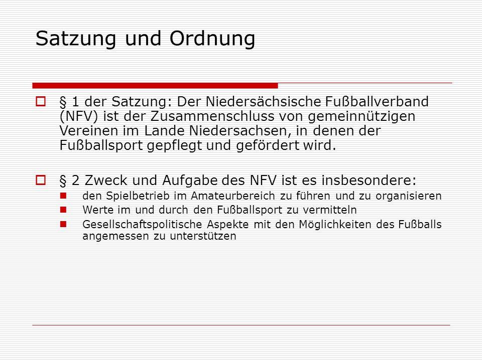 Satzung und Ordnung  § 7 Der NFV regelt seinen eigenen Geschäftsbereich durch Ordnungen und Entscheidungen seiner Organe.