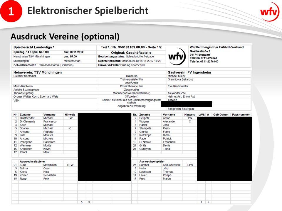 1 Elektronischer Spielbericht Ausdruck Vereine (optional)