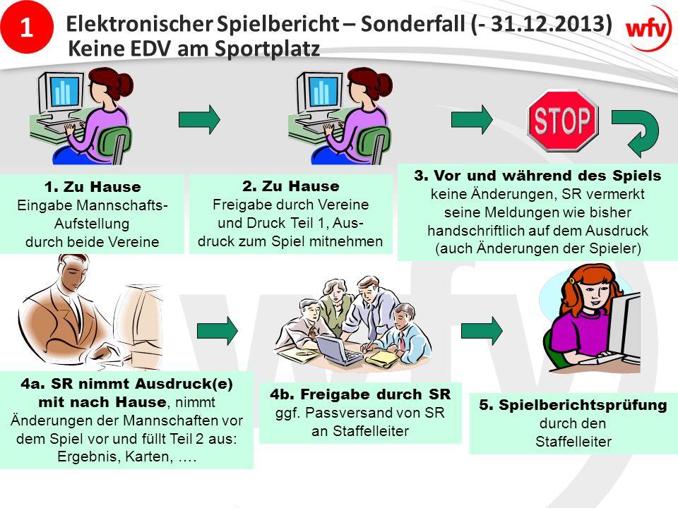 1 Elektronischer Spielbericht – Sonderfall (- 31.12.2013) 1.