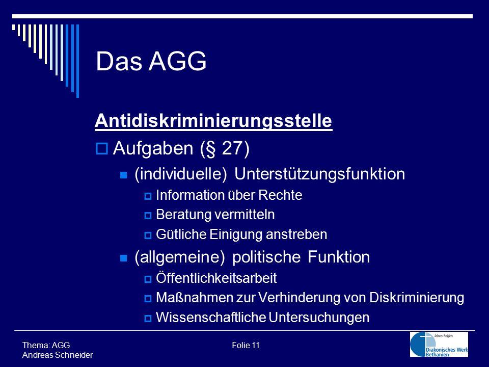 Thema: AGG Folie 11 Andreas Schneider Das AGG Antidiskriminierungsstelle  Aufgaben (§ 27) (individuelle) Unterstützungsfunktion  Information über Re