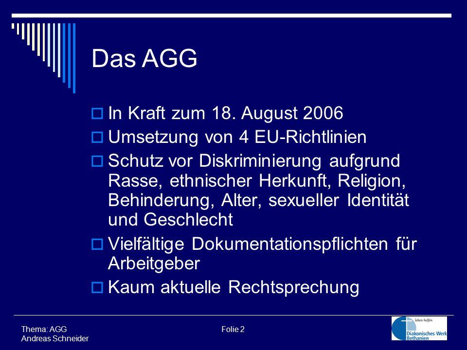  In Kraft zum 18. August 2006  Umsetzung von 4 EU-Richtlinien  Schutz vor Diskriminierung aufgrund Rasse, ethnischer Herkunft, Religion, Behinderun