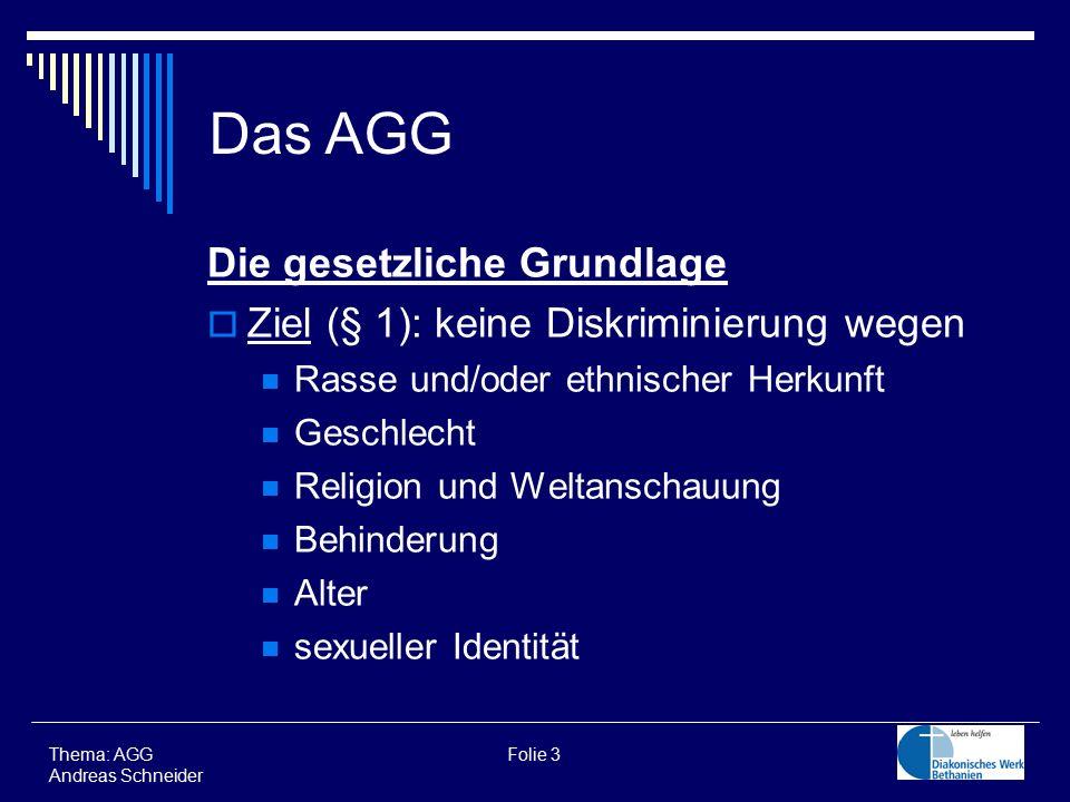 Die gesetzliche Grundlage  Ziel (§ 1): keine Diskriminierung wegen Rasse und/oder ethnischer Herkunft Geschlecht Religion und Weltanschauung Behinder