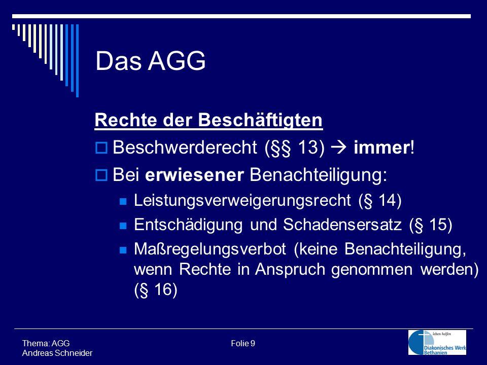 Thema: AGG Folie 9 Andreas Schneider Das AGG Rechte der Beschäftigten  Beschwerderecht (§§ 13)  immer!  Bei erwiesener Benachteiligung: Leistungsve