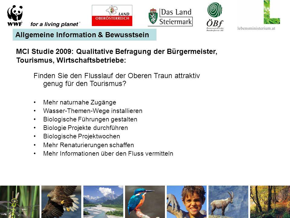 MCI Studie 2009: Qualitative Befragung der Bürgermeister, Tourismus, Wirtschaftsbetriebe: Finden Sie den Flusslauf der Oberen Traun attraktiv genug für den Tourismus.