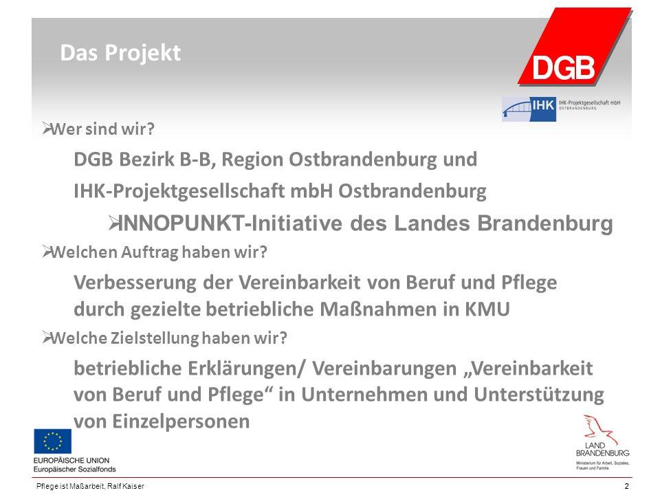 22Pflege ist Maßarbeit, Ralf Kaiser Das Projekt  Wer sind wir? DGB Bezirk B-B, Region Ostbrandenburg und IHK-Projektgesellschaft mbH Ostbrandenburg 