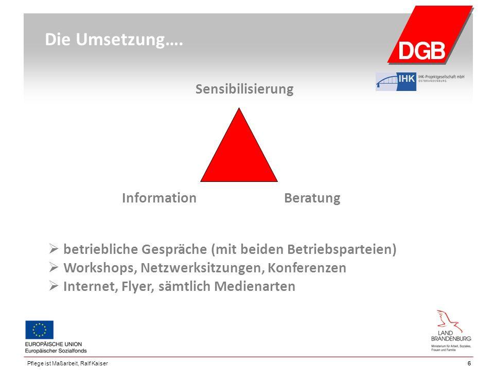 66Pflege ist Maßarbeit, Ralf Kaiser Die Umsetzung…. Sensibilisierung Information Beratung  betriebliche Gespräche (mit beiden Betriebsparteien)  Wor