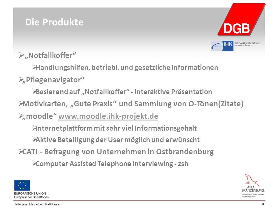 """88Pflege ist Maßarbeit, Ralf Kaiser Die Produkte  """"Notfallkoffer""""  Handlungshilfen, betriebl. und gesetzliche Informationen  """"Pflegenavigator""""  Ba"""
