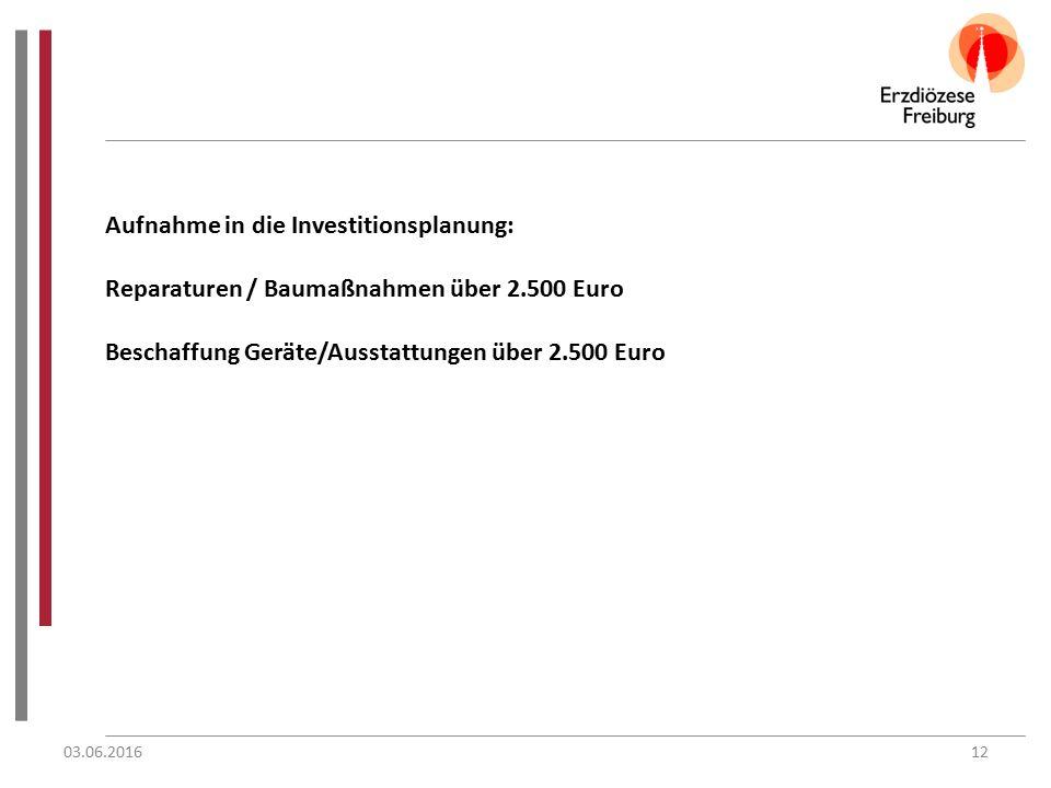 Aufnahme in die Investitionsplanung: Reparaturen / Baumaßnahmen über 2.500 Euro Beschaffung Geräte/Ausstattungen über 2.500 Euro 03.06.201612