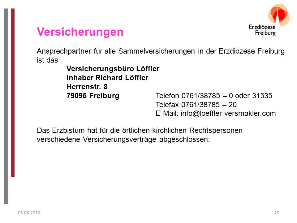 03.06.201629 Versicherungen Ansprechpartner für alle Sammelversicherungen in der Erzdiözese Freiburg ist das Versicherungsbüro Löffler Inhaber Richard Löffler Herrenstr.