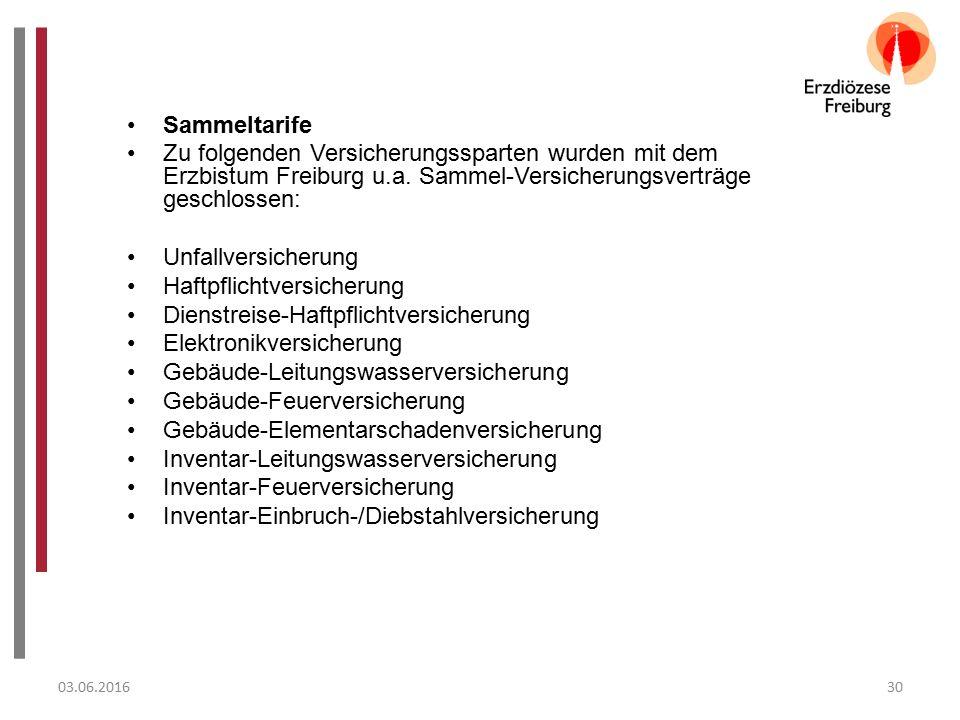03.06.201630 Sammeltarife Zu folgenden Versicherungssparten wurden mit dem Erzbistum Freiburg u.a.