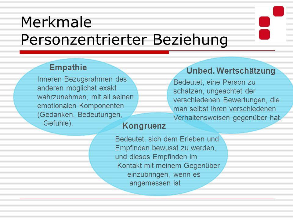 Merkmale Personzentrierter Beziehung Bedeutet, eine Person zu schätzen, ungeachtet der verschiedenen Bewertungen, die man selbst ihren verschiedenen V
