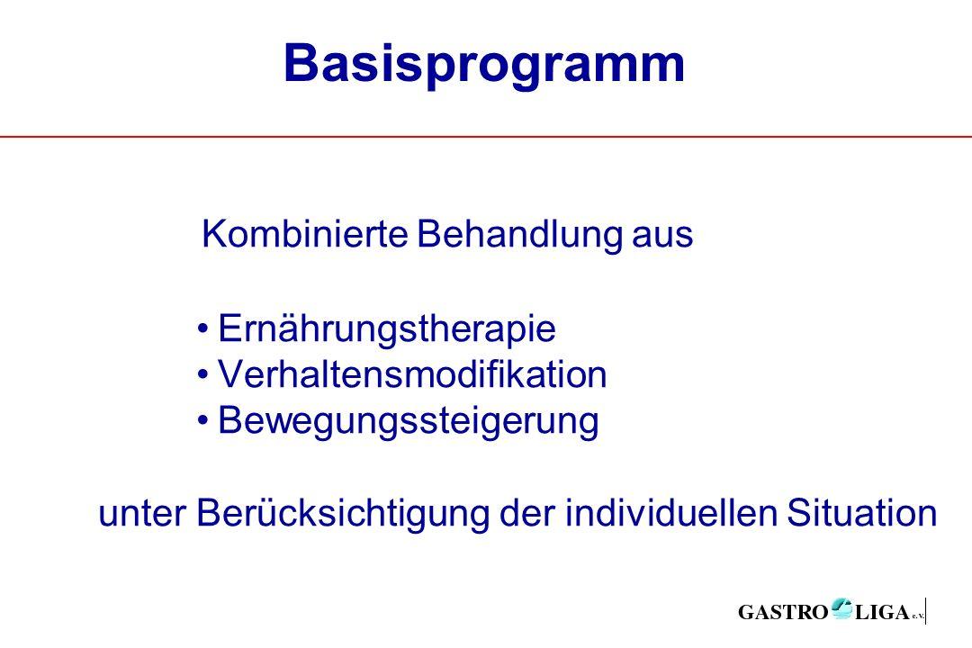 Basisprogramm Kombinierte Behandlung aus Ernährungstherapie Verhaltensmodifikation Bewegungssteigerung unter Berücksichtigung der individuellen Situation