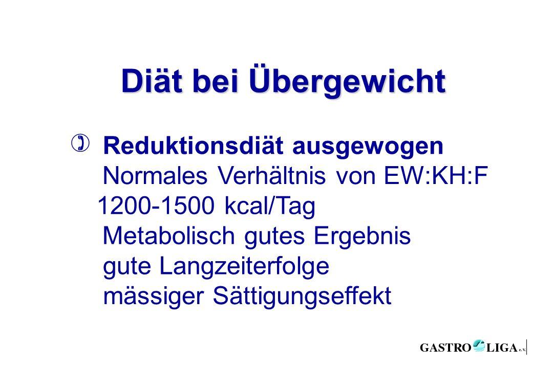 Diät bei Übergewicht Reduktionsdiät ausgewogen Normales Verhältnis von EW:KH:F 1200-1500 kcal/Tag Metabolisch gutes Ergebnis gute Langzeiterfolge mässiger Sättigungseffekt )