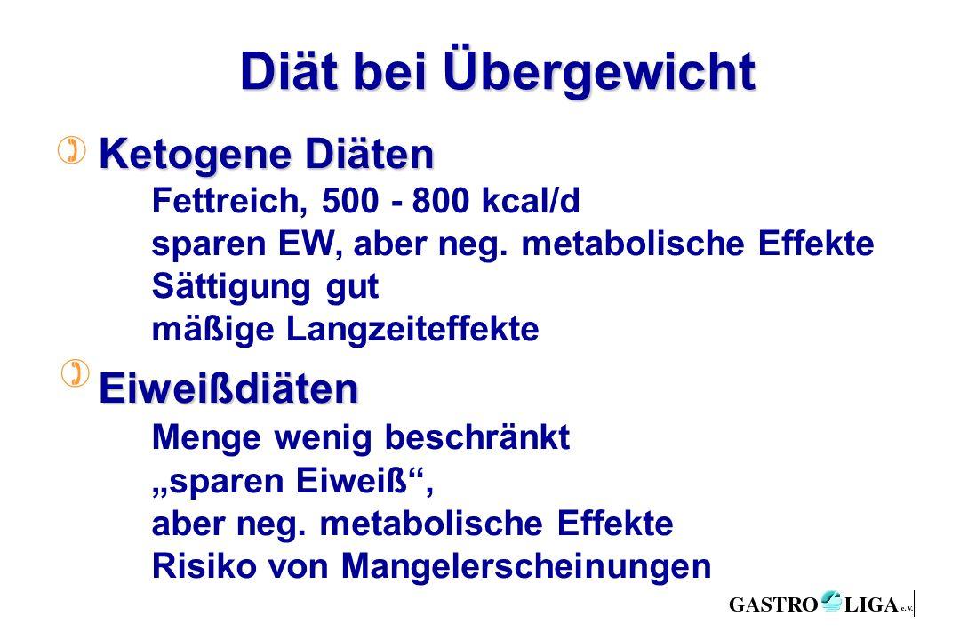 Diät bei Übergewicht ) ) Ketogene Diäten Fettreich, 500 - 800 kcal/d sparen EW, aber neg.