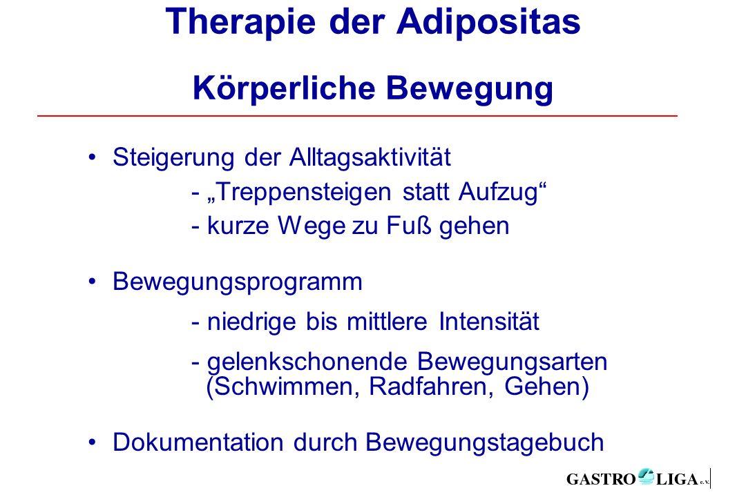 """Therapie der Adipositas Körperliche Bewegung Steigerung der Alltagsaktivität - """"Treppensteigen statt Aufzug - kurze Wege zu Fuß gehen Bewegungsprogramm - niedrige bis mittlere Intensität - gelenkschonende Bewegungsarten (Schwimmen, Radfahren, Gehen) Dokumentation durch Bewegungstagebuch"""