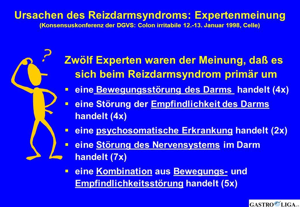 Ursachen des Reizdarmsyndroms: Expertenmeinung (Konsensuskonferenz der DGVS: Colon irritabile 12.-13. Januar 1998, Celle) Zwölf Experten waren der Mei