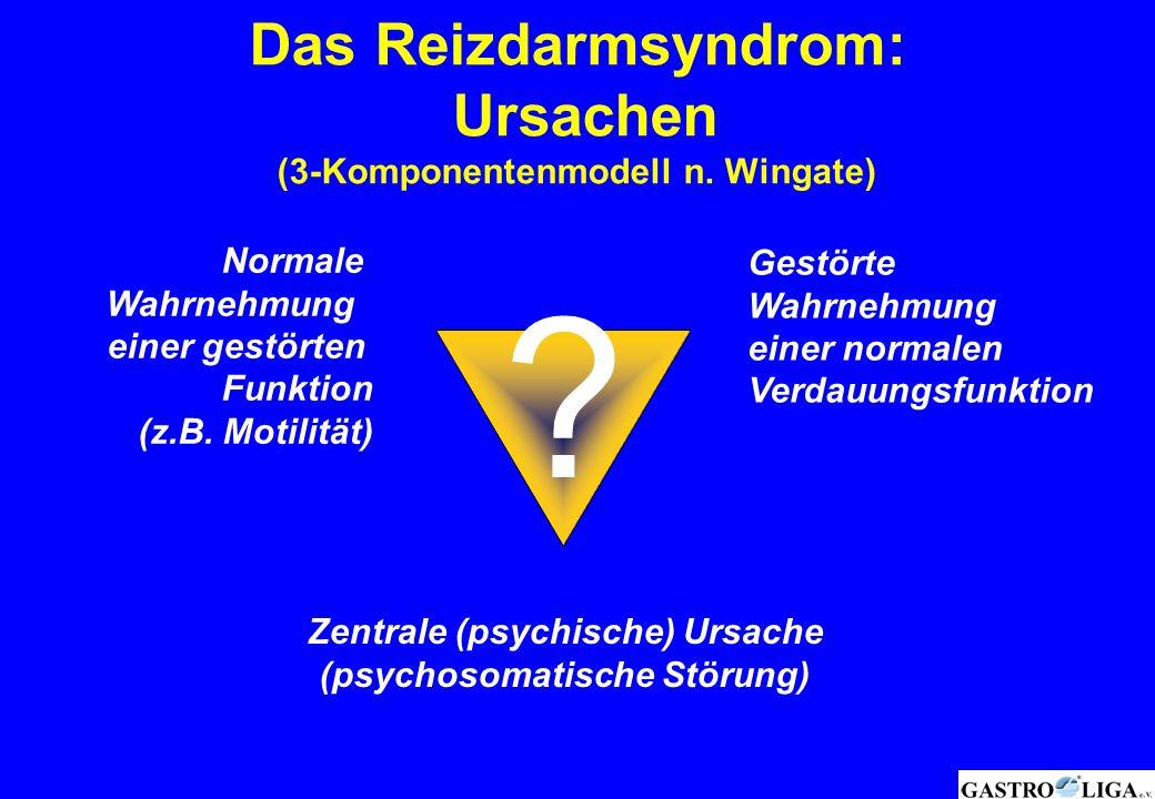 Das Reizdarmsyndrom: Ursachen (3-Komponentenmodell n. Wingate) ? Normale Wahrnehmung einer gestörten Funktion (z.B. Motilität) Gestörte Wahrnehmung ei